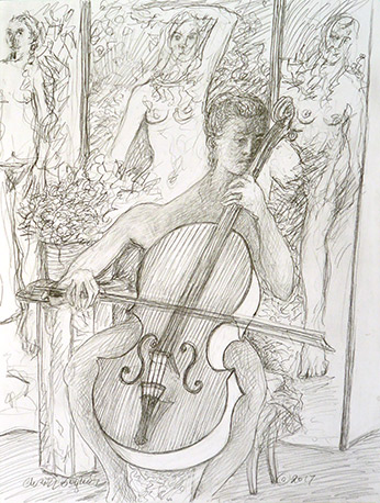 Christy Bergland figure drawing, Music by Cello